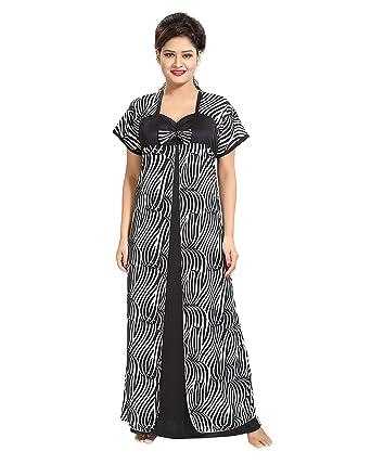 TUCUTE Women Beautiful Zebra Print with Bow Nighty Night Gown Night Dress  (White 7d9331b8e8