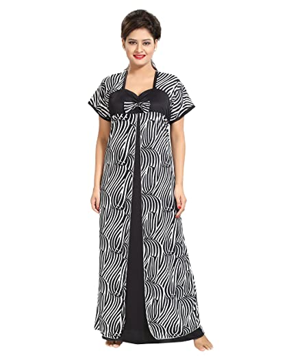 902fe3f84d TUCUTE Women Beautiful Zebra Print with Bow Nighty Night Gown Night Dress  (White   Black) (Free Size) 1381  Amazon.in  Clothing   Accessories