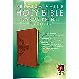 Premium Value Slimline Bible Large Print NLT, Cross (LeatherLike, Sienna)