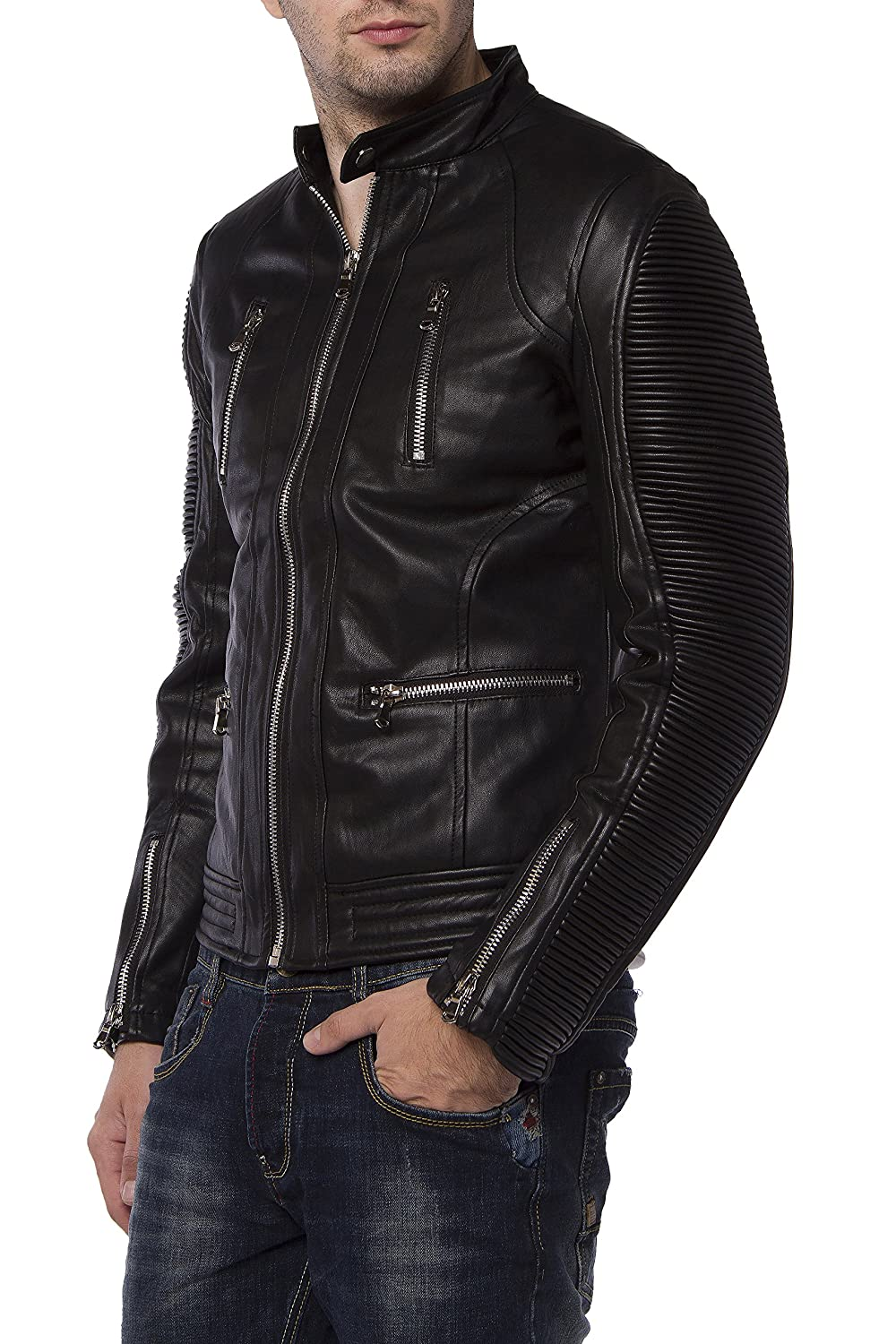 Y-TWO Men Leather Jacket