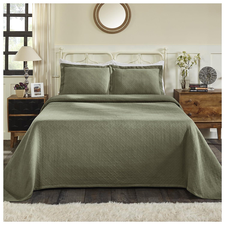 Sage Full Superior 100% Cotton Basket Weave Bedspread with Shams, All-Season Premium Cotton Matelassé Jacquard Bedding, Quilted-look Geometric Basket Pattern - King, White