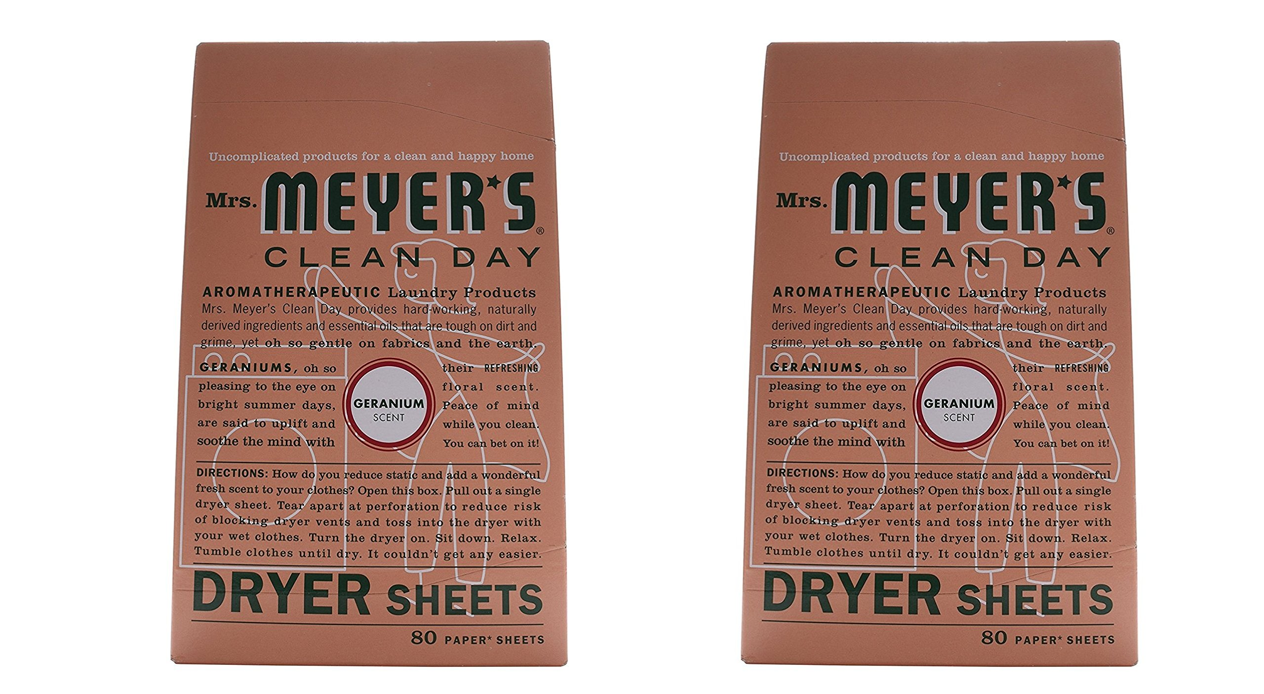 Mrs. Meyers Clean Day Dryer Sheets Geranium, 2 Pack (80 ct) by Mrs. Meyer's Clean Day