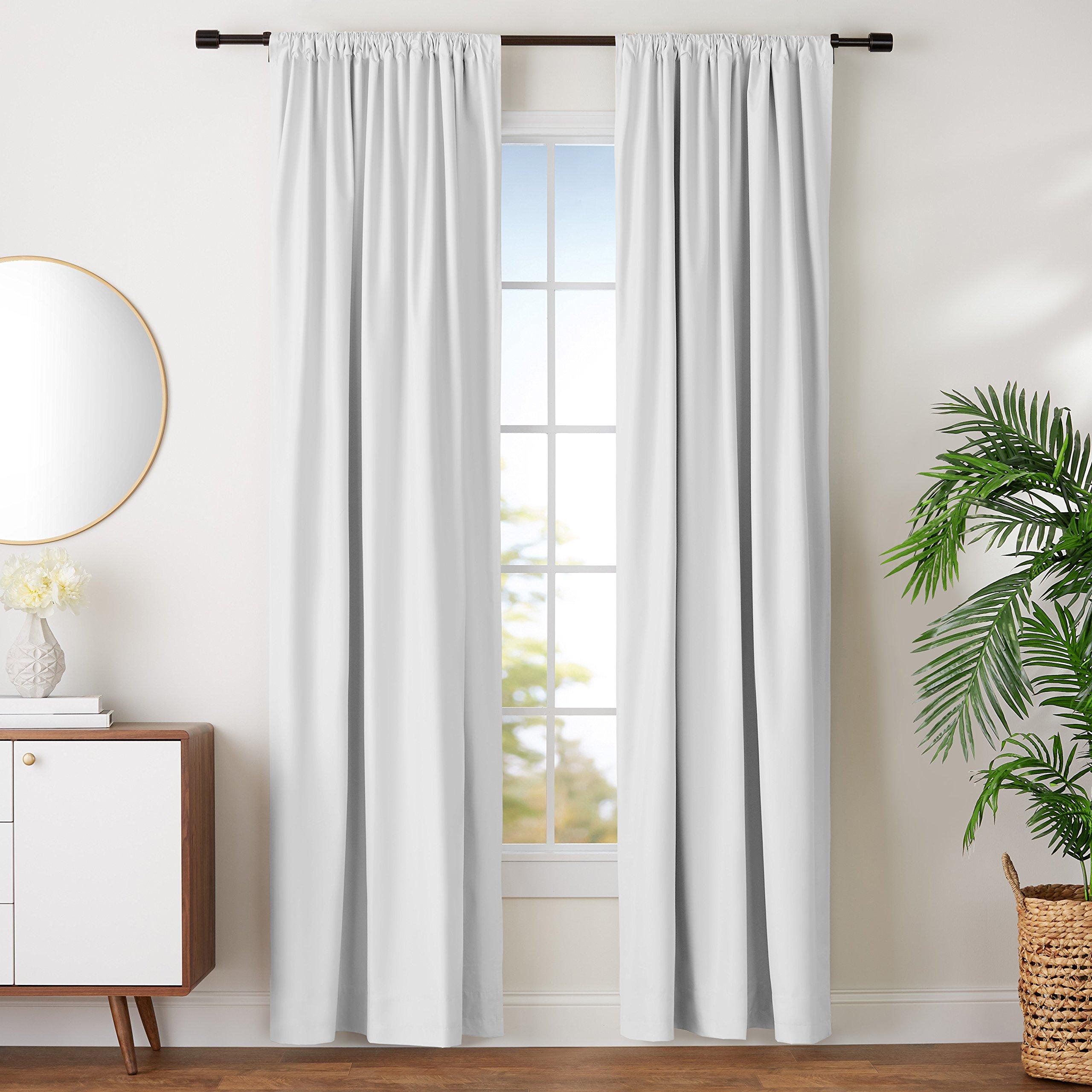 AmazonBasics Room Darkening Blackout Window Curtains with Tie Backs Set, 52'' x 96'', White by AmazonBasics