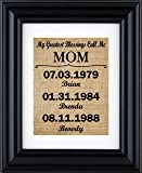 """My Greatest Blessings Call Me - Mom"" - Mom Gift from kids, Personalised Gift for mom, Mothers day burlap gifts, gift from children- burlap print-2B(Frame not included)"