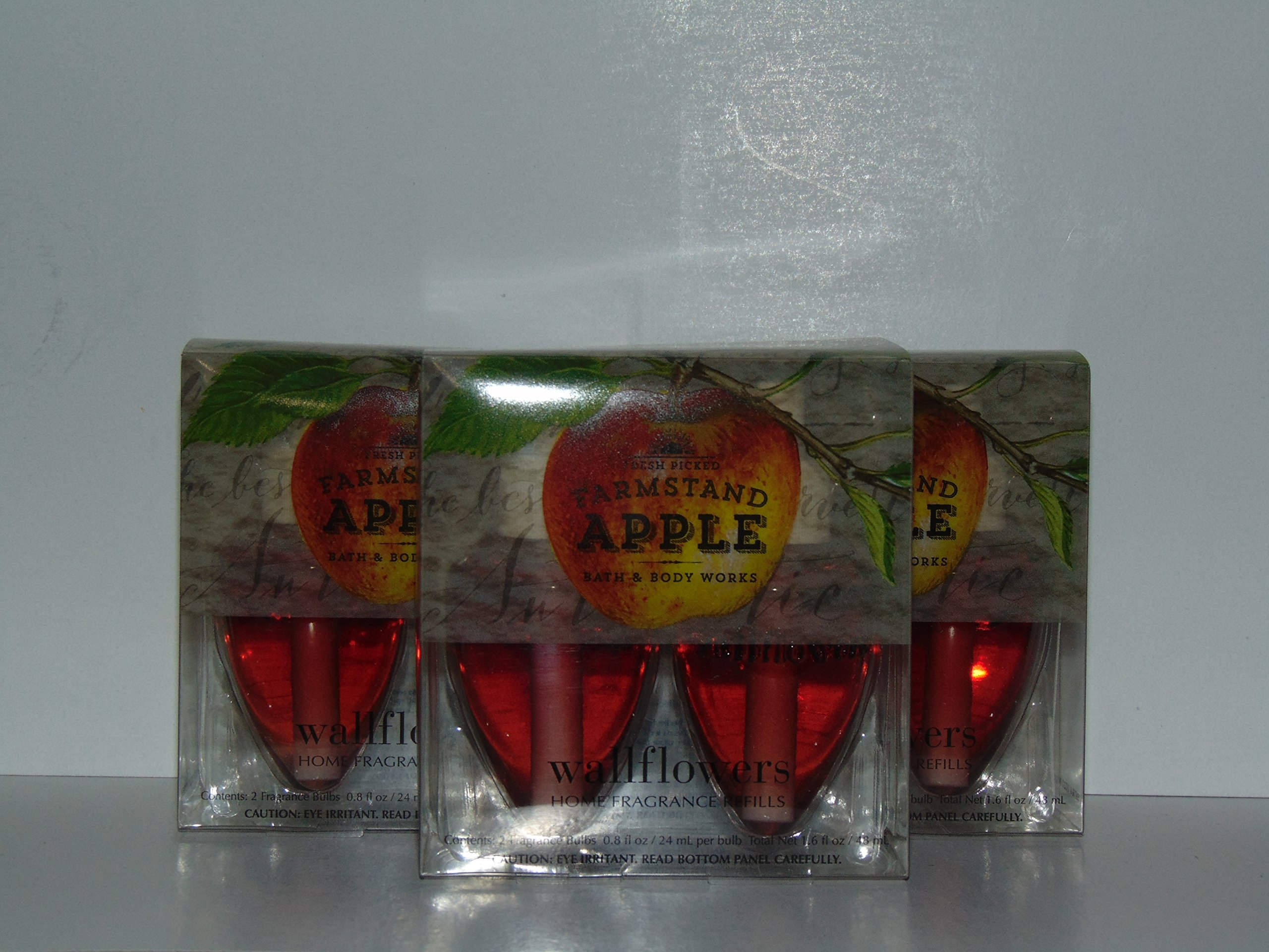 Lot of 3 Bath & Body Works Farmstand Apple Wallflower 2 Bulb Refill Packs (6 Bulbs Total) by Bath & Body Works (Image #1)