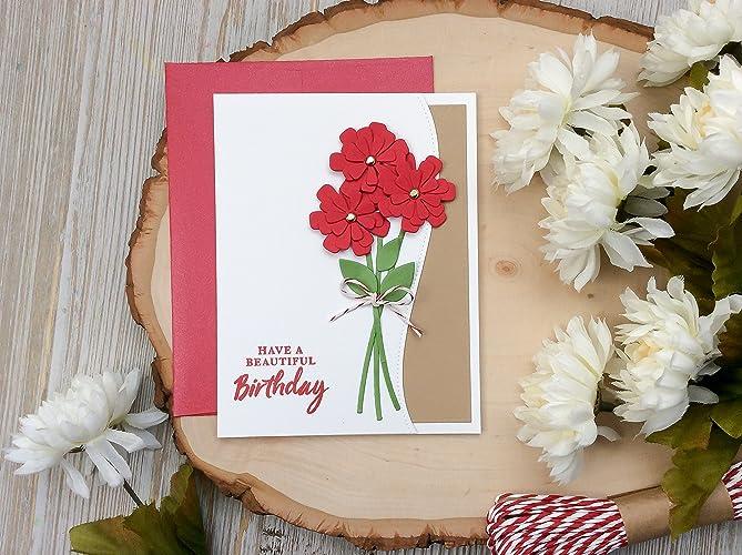 Handmade Birthday Card Flower Happy Wishes