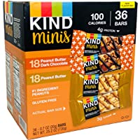 Kind Bar Minis Variety Pack, Peanut Butter Dark Chocolate and Peanut Butter, 36 Count, Gluten Free 100 Calories