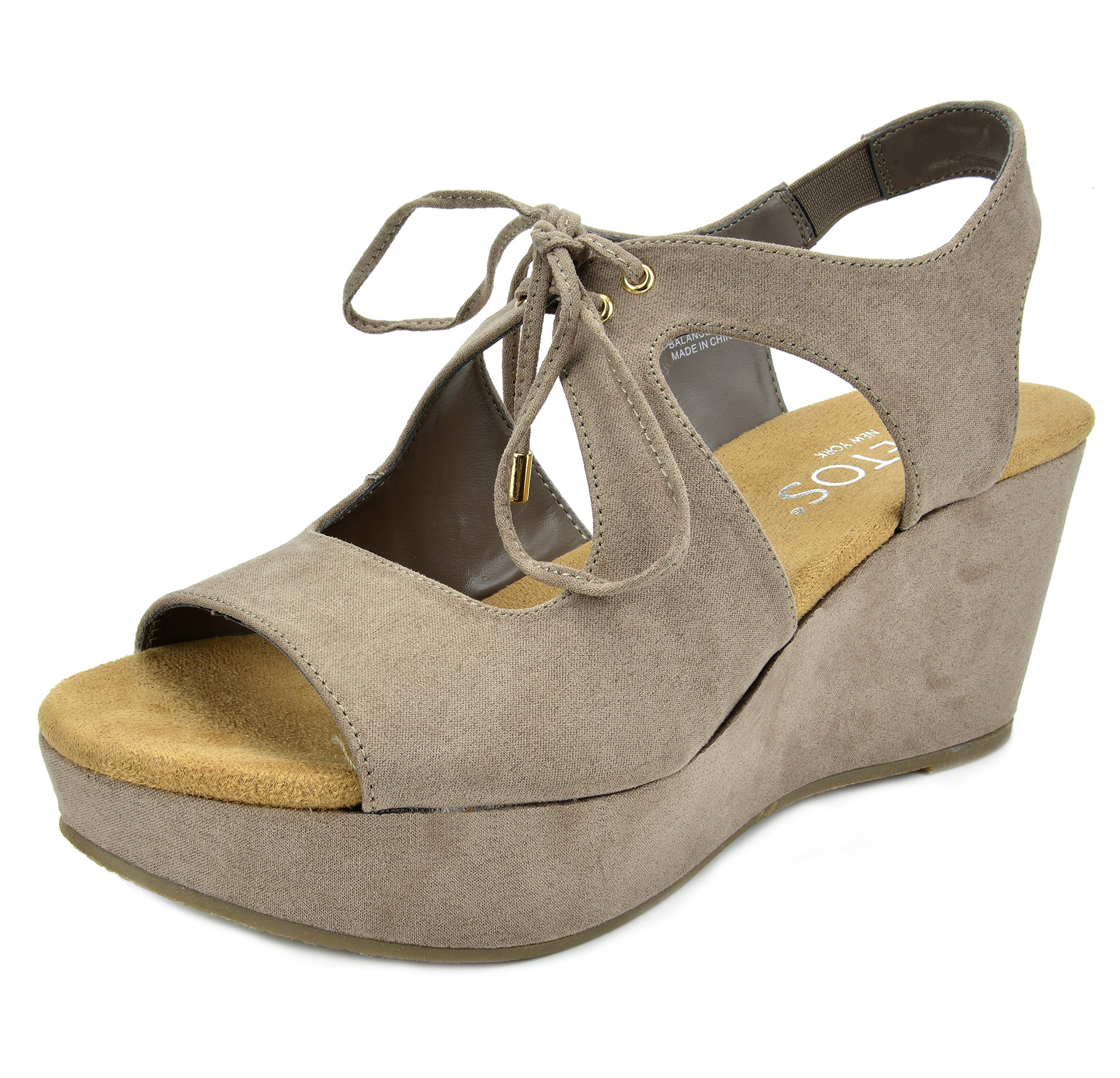 TOETOS Women's Sandro-02 Taupe Mid Heel Platform Wedges Sandals - 8 M US