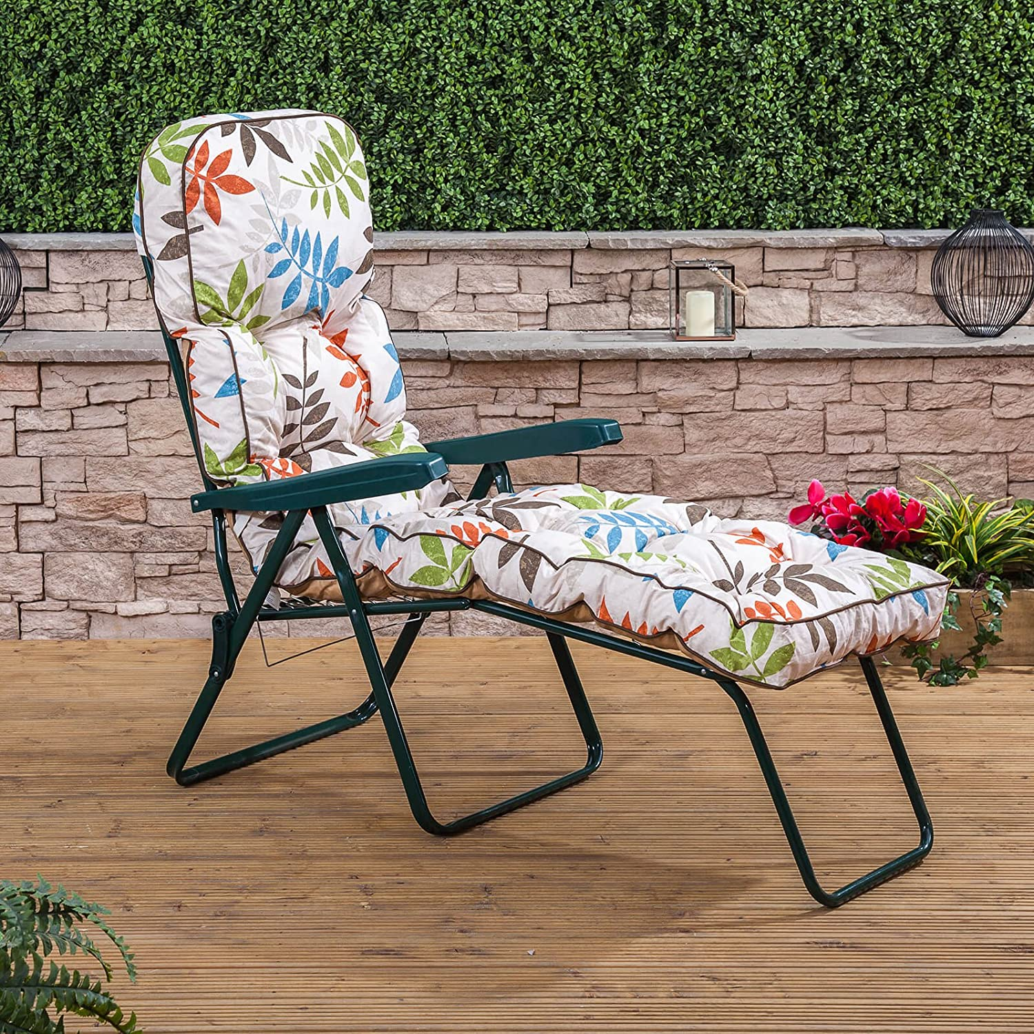 Alfresia Garden Sun Lounger – Green Adjustable Multi Position Foldable Frame with Classic Cushion in Choice of Prints (Blue)