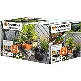 Gardena 1265-20 Set de riego en Vacaciones City Gardening, para un máximo de 36 Plantas, Negro/Gris/Naranja