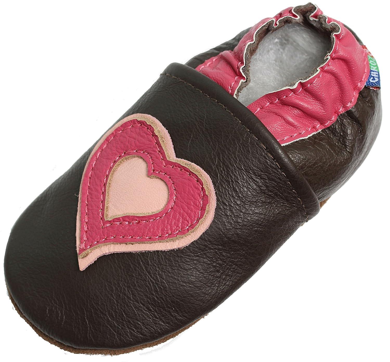 Semelles Souple en Cuir Chaussures pour enfants bébé fille enfant Chaussons booties Caroline Zoo Hearts Brown