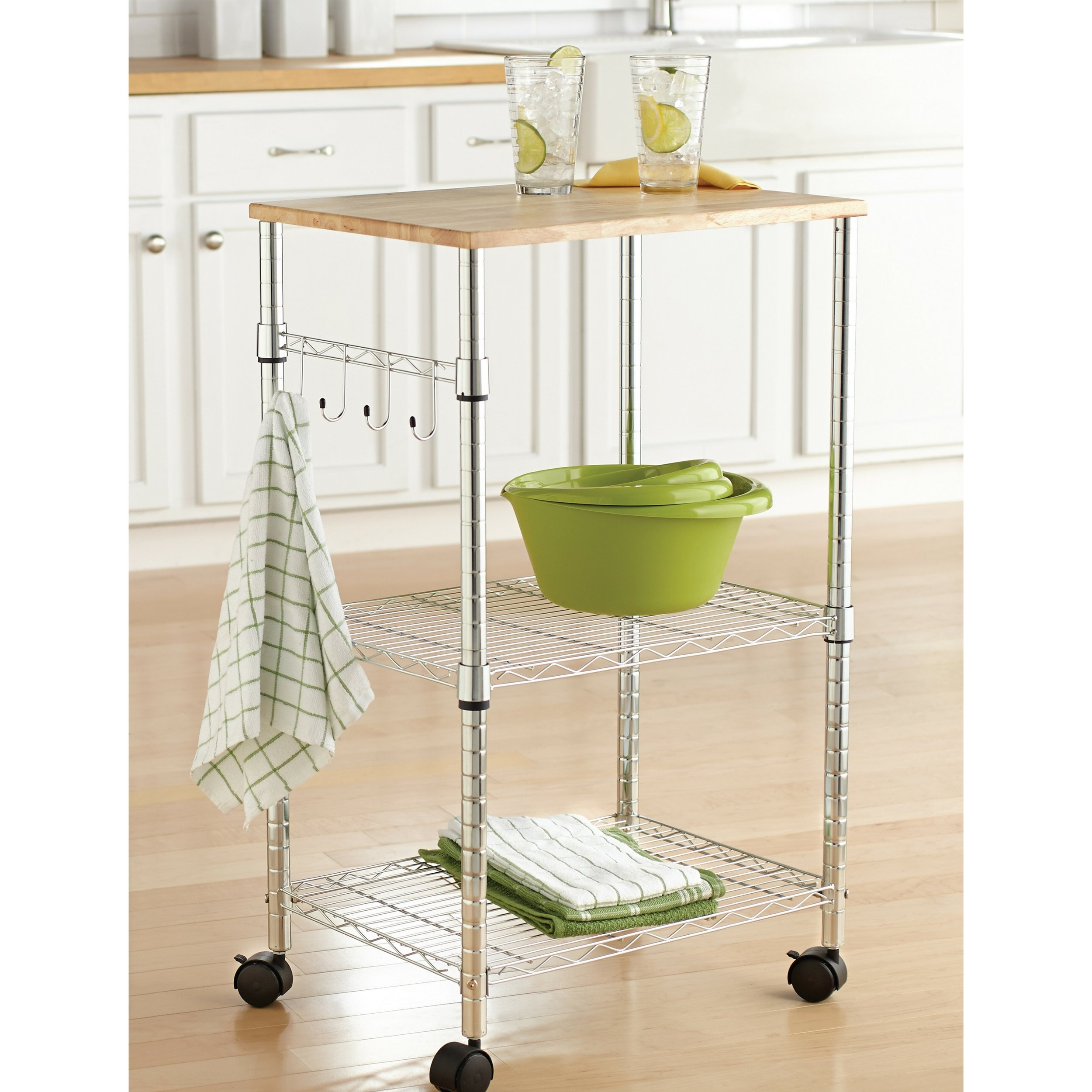 Mainstays Cart Sturdy Metal Sleek Design Wood Top Multi-Purpose Kitchen Cart, Chrome by Mainstay (Image #1)