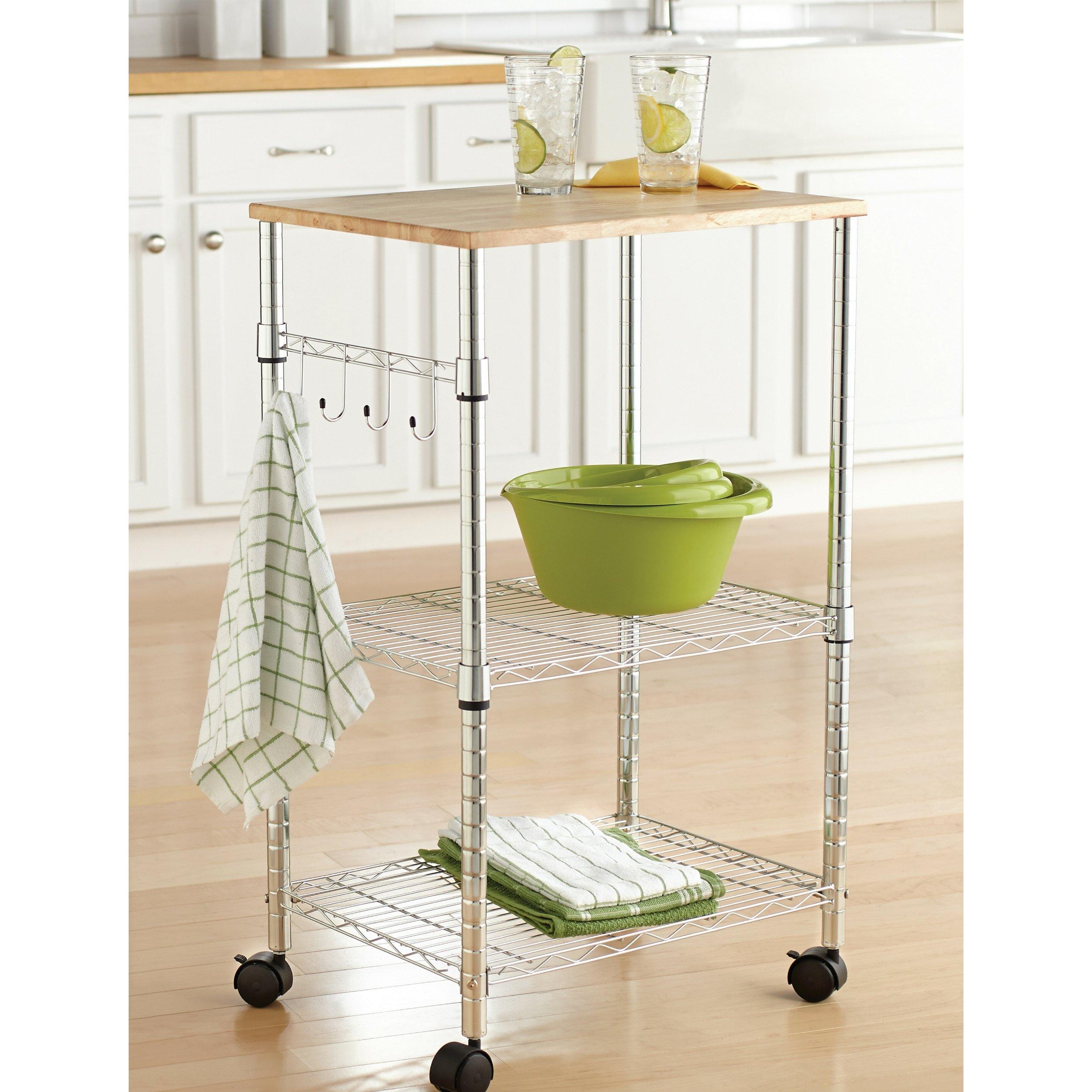 Mainstays Cart Sturdy Metal Sleek Design Wood Top Multi-Purpose Kitchen Cart, Chrome
