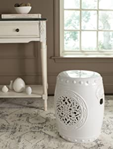 Safavieh Flower Drum Ceramic Decorative Garden Stool, Antique White