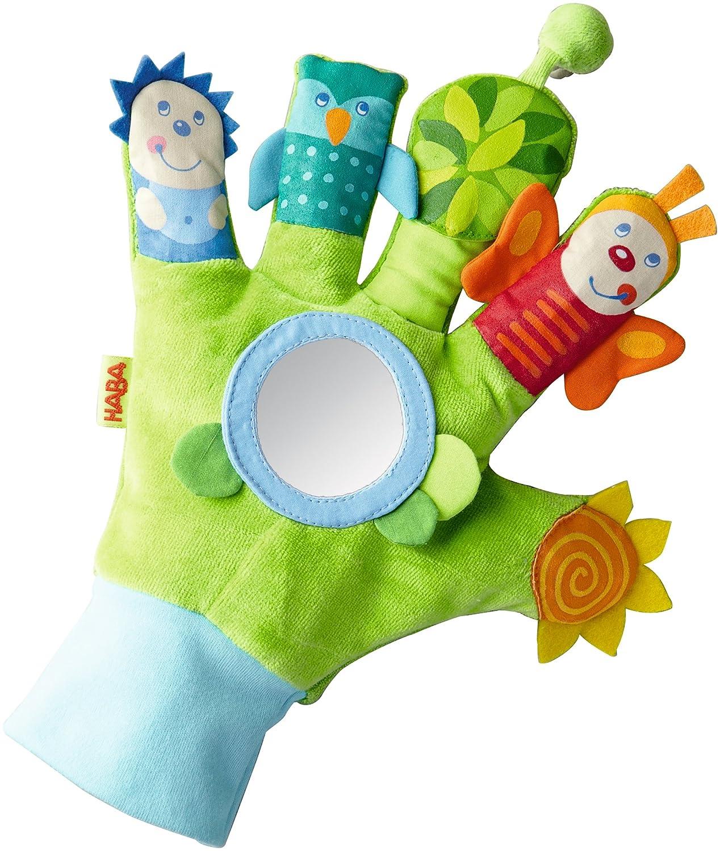 HABA 5797 – Guanto da gioco Zauberwaldfreunde – giocattolo per bambini con molti effetti per sensazione, visione e corsa guanto in tessuto con elementi ottici e acustici a partire da 6 mesi Habermaass GmbH