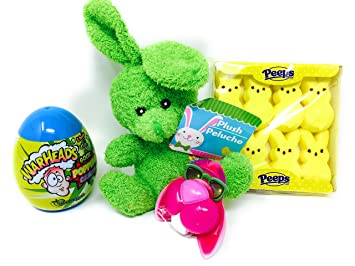 Bright Bunny Easter Egg Basket Filler Bundle - 4 Items with 8 Yellow Rabbit Peeps,
