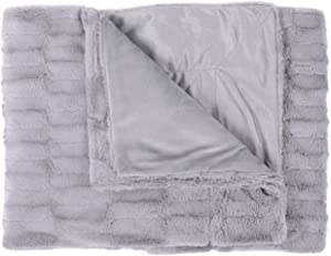 Sweet Home Collection Casie Decorative Reversible Faux Fur and Mink Throw Blanket, 50 x 60, Box Pattern, Silver