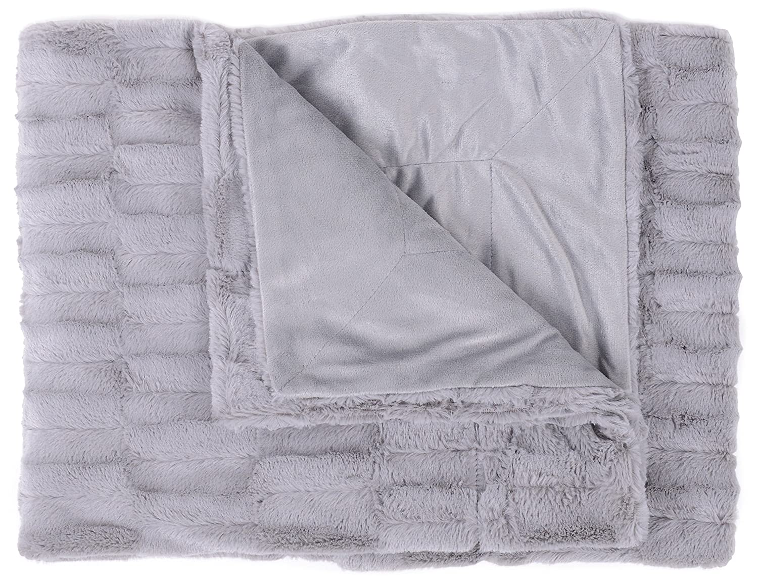 Box Pattern Ivory THROW-BOX-IVRY 50 x 60 Sweet Home Collection Casie Decorative Reversible Faux Fur and Mink Throw Blanket