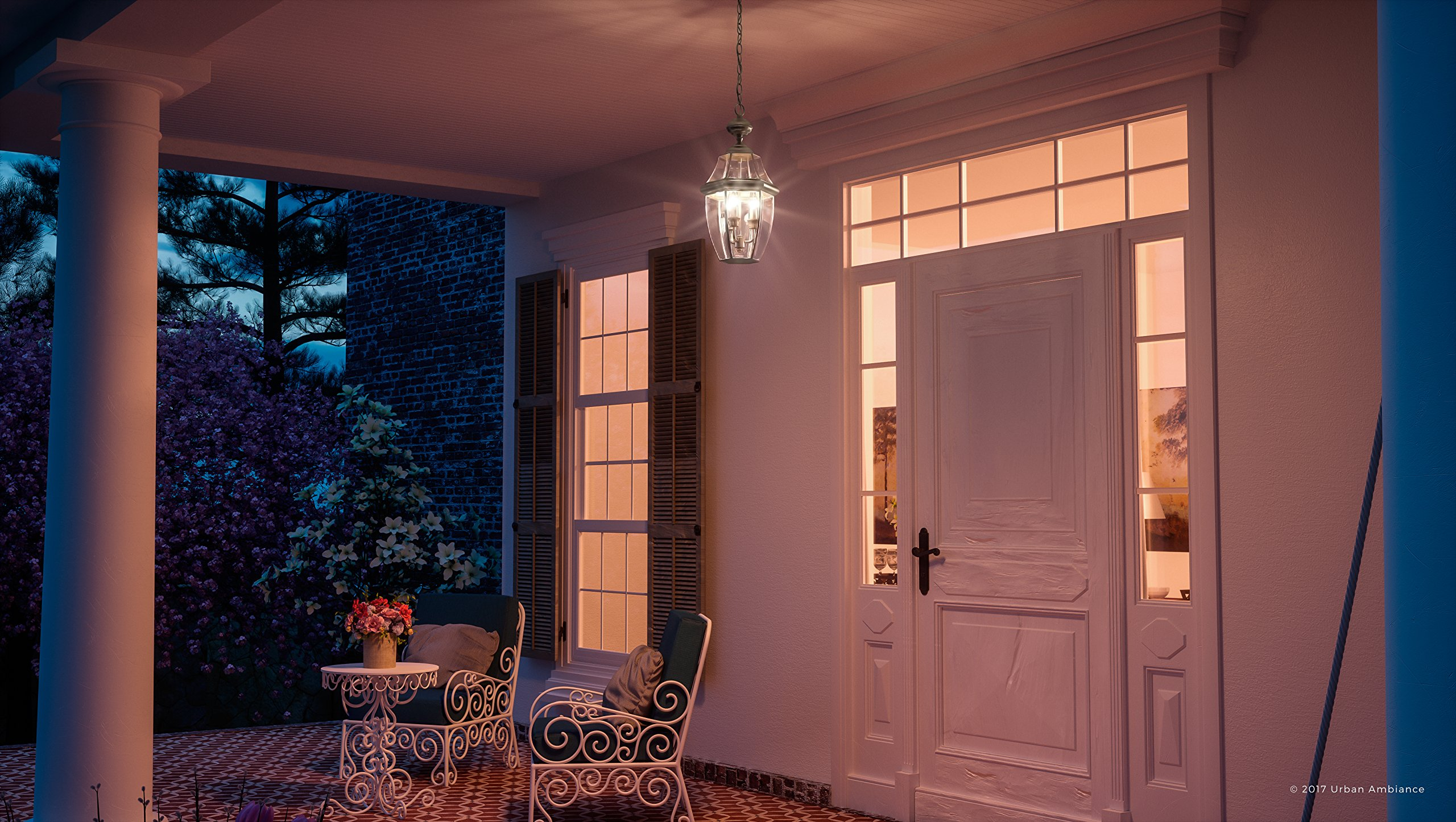 Luxury Colonial Outdoor Pendant Light, Large Size: 19''H x 11''W, with Tudor Style Elements, Versatile Design, Classy Aged Silver Finish and Beveled Glass, UQL1158 by Urban Ambiance by Urban Ambiance (Image #2)