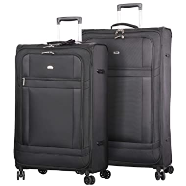 Lightweight Large Luggage Sets 2 piece 32inch 29 inch - Reinforced Suitcases Set (Black)