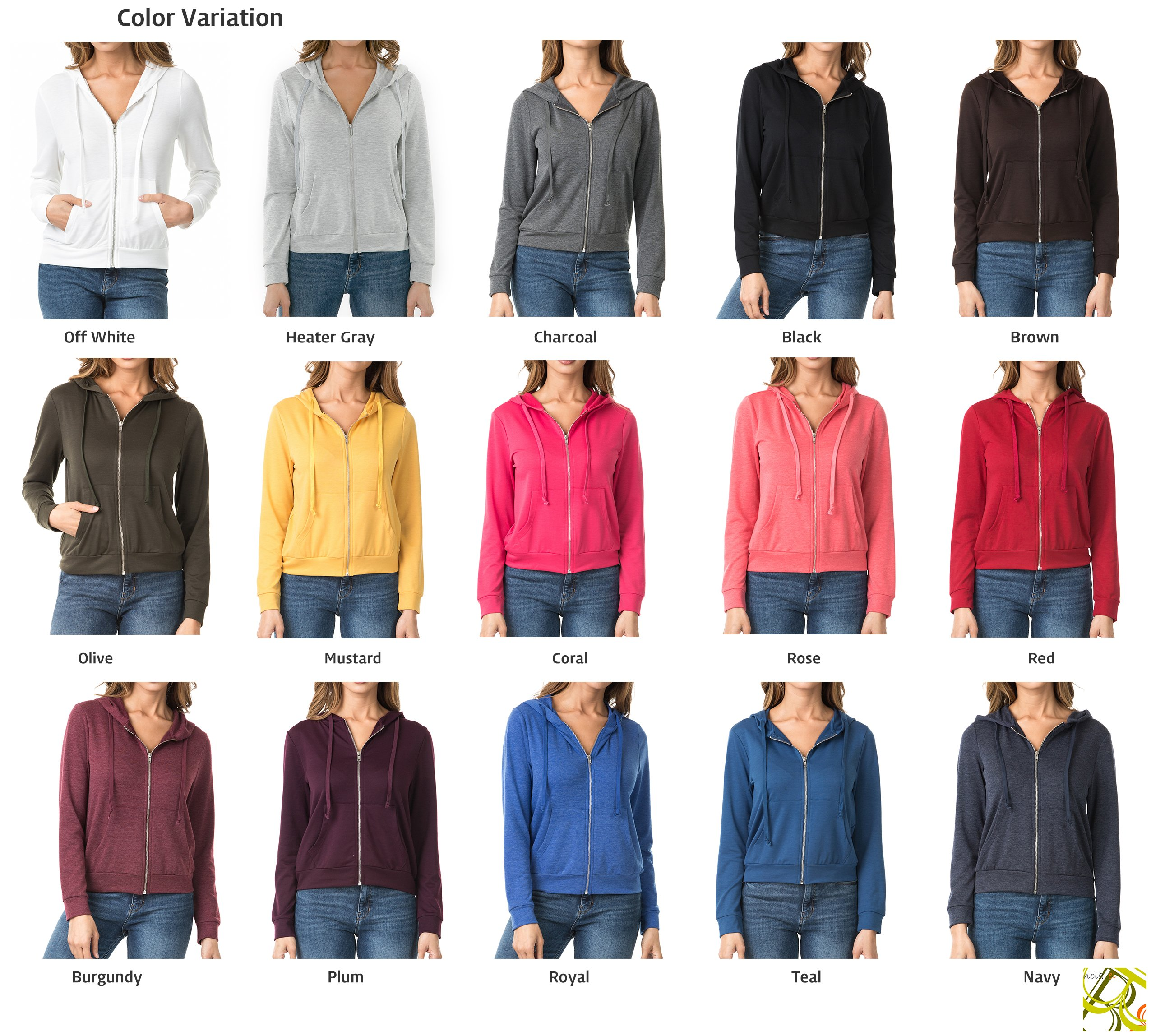 Nolabel B7_032 Women's Long Sleeve French Terry Drawstring Hoodies Zip Up Sweatshirt Hooded (Burgundy/5XL) by Nolabel (Image #5)