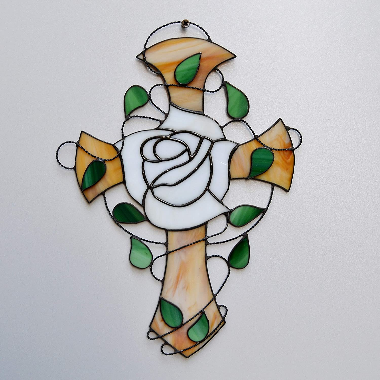 Amazon Com White Rose Cross Stained Glass Window Hanging Or Wall Decor Rosicrucian Panel For Home Or Church Handmade