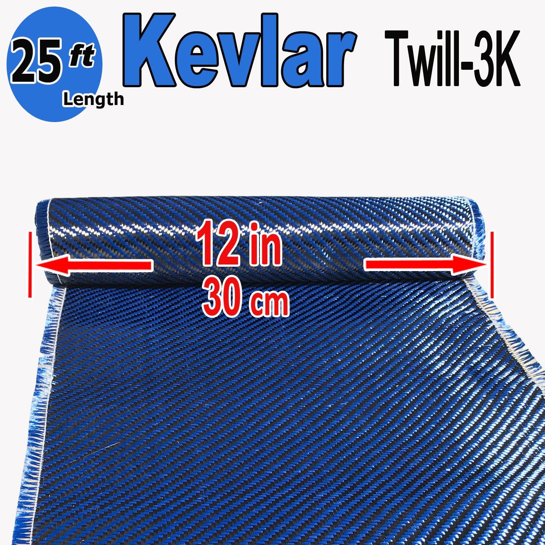 12'' x 10 FT - Kevlar FABRIC-2x2 Twill WEAVE-3K/240g (Blue) by KEVLAR Carbon Fiber Aramid Fabric-Twill Weave 3K/240g