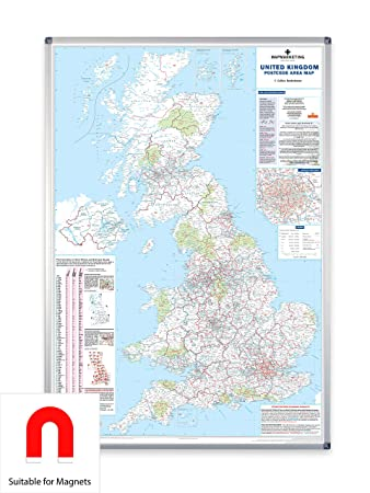 UK Postcode Area Map - Large Wall Map For Business (Laminated With  Aluminium Frame & Metal Backing)