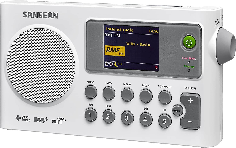 Sangean Sir De 100 - Radio Internet portátil (Radio DAB +/FM, WiFi, Spotify, MP3, despertador), color blanco: Amazon.es: Electrónica