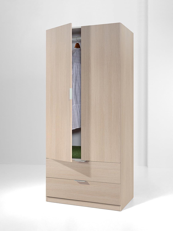 Armario con 2 puertas y 2 cajones para dormitorio o habitación en color roble, 181x81x52cm: Amazon.es: Hogar