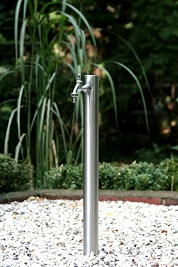 Gartenwassersäule edelstahl wassersäule zapfstelle für gartenschlauch mit wasserhahn