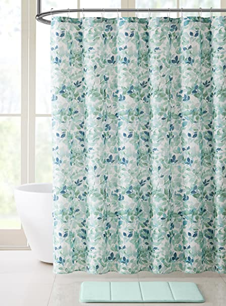 VCNY Home Bathroom Fabric Shower Curtain Lush Nature Teal Blue Green White Leaf Pattern On