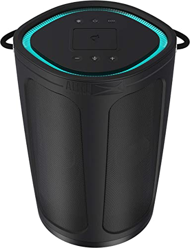Altec Lansing IMW899-Blk Soundbucket XL Rugged Portable Waterproof Snowproof Wireless Bluetooth Speaker with Built – in QI Wireless Charging, Illuminating Led Lights, Black