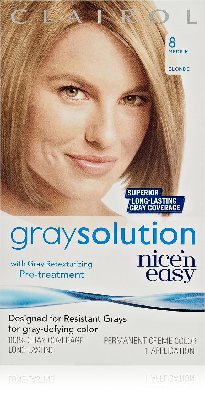 Clairol Gray Solution By Nice 'N Easy Hair Color 008 Medium Blonde 1 Kit  (Pack of 3)