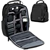 USA GEAR Portable Camera Backpack for DSLR (Black) with Customizable Accessory Dividers
