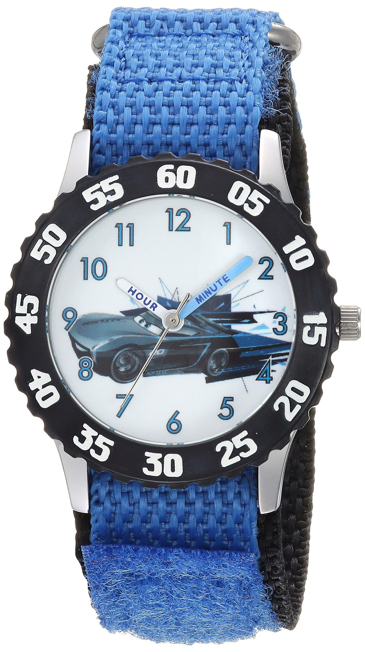 DISNEY Boys Cars 3 Stainless Steel Analog-Quartz Watch with Nylon Strap, Blue, 16 (Model: WDS000465)