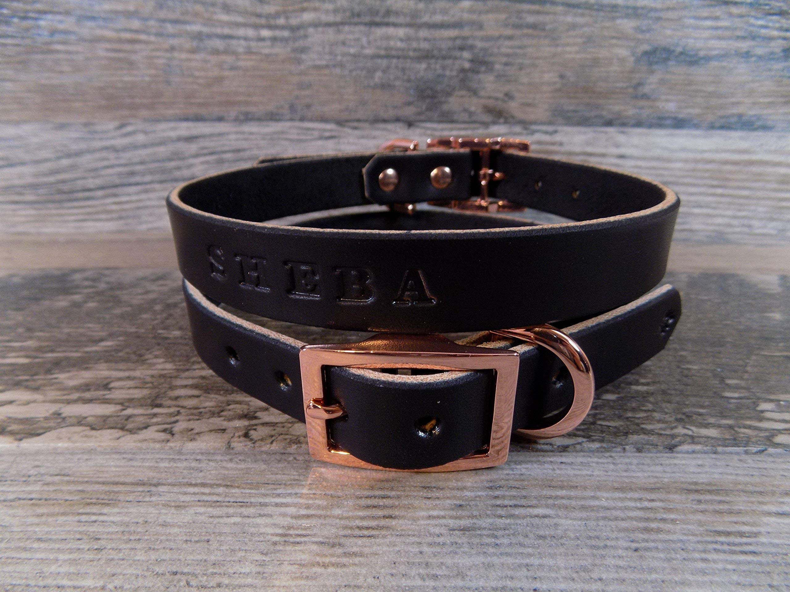 Personalized Rose Gold Copper Black Leather Dog Collar with FREE Name, Pick Your Font