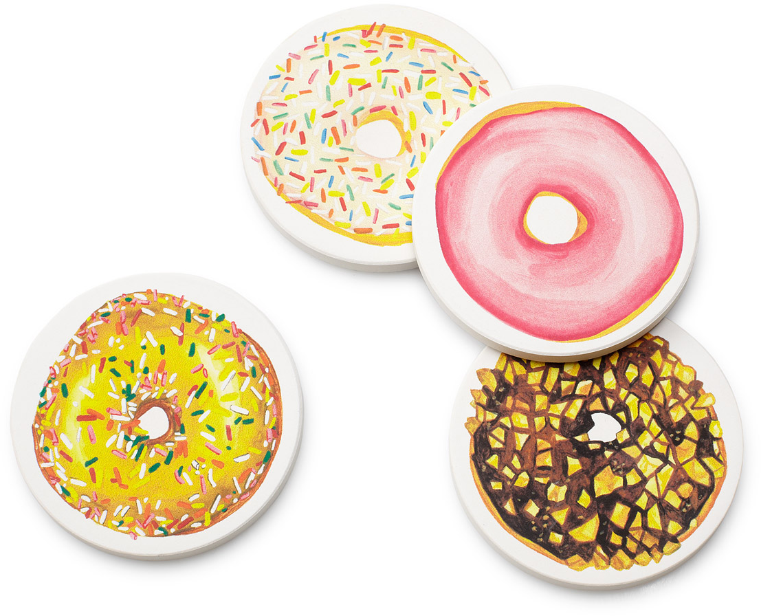 Donut Coasters | drink coaster, ceramic | UncommonGoods