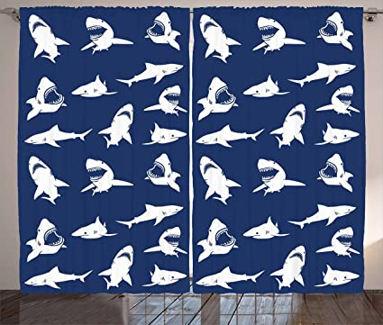 Ambesonne Shark Curtains, Shark Pattern with Various Gestures Have A Bite Danger Humor Nautical Design