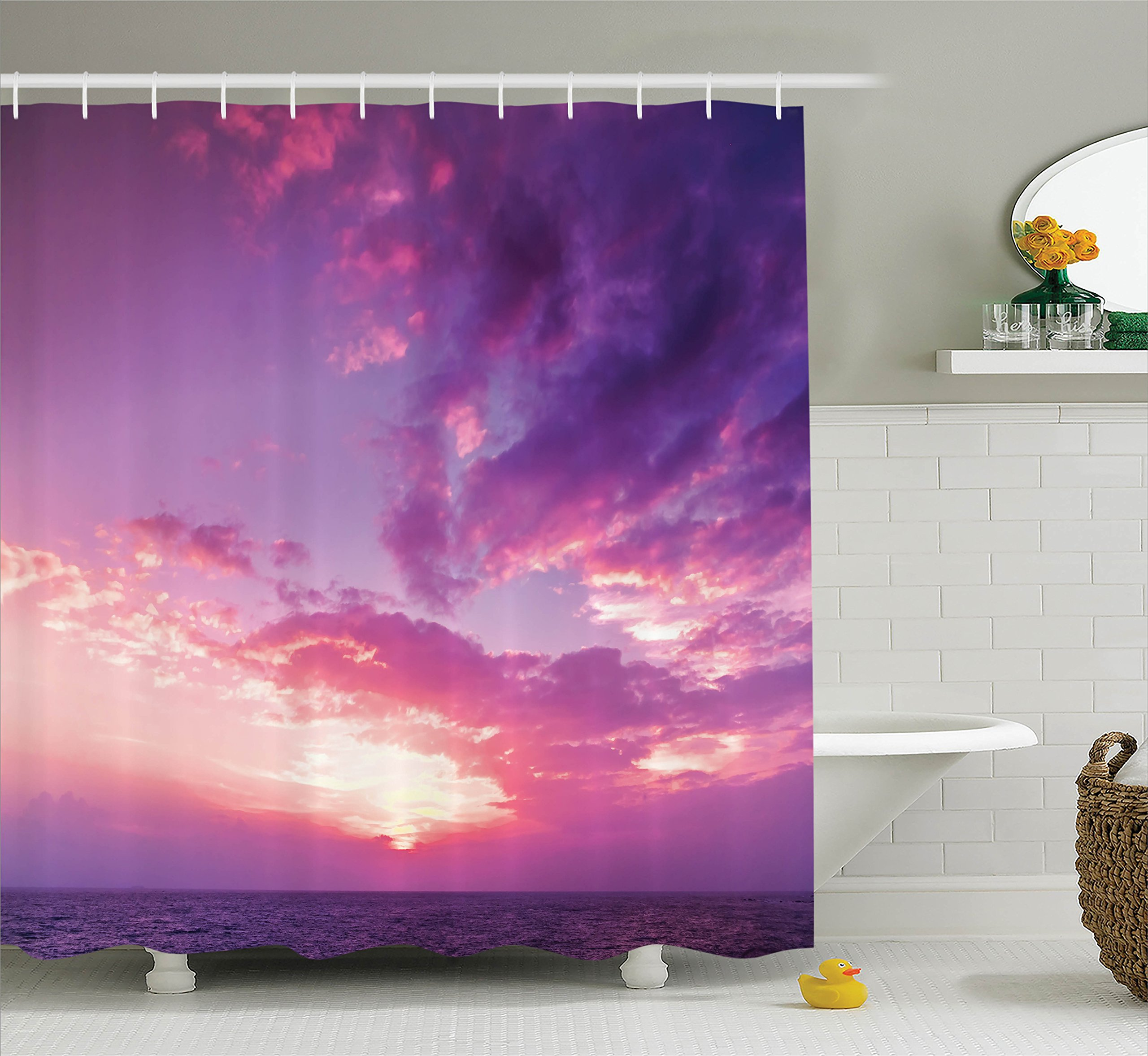 Ambesonne Apartment Decor Collection, Last Sun Lights of the Day Coloring the Sky and Clouds Romance Themed Image, Polyester Fabric Bathroom Shower Curtain, 75 Inches Long, Purple Yellow