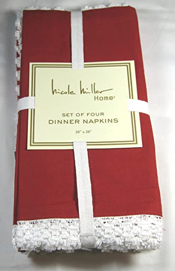 Set Of 4 Nicole Miller Home Holiday Dinner Napkins With Lace Trim Red 100%  Cotton