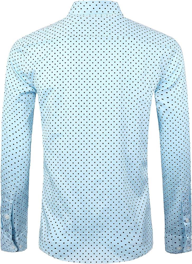 SOOPO Camisa de Manga Larga para Hombres Estampada de Puntos Camisa Lisa y Regular, Azul, S: Amazon.es: Ropa y accesorios