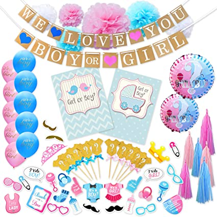 Gender reveal party ideas team pink team blue boy or girl party gender party favors pink blue team boy girl reveal cake topper decorations