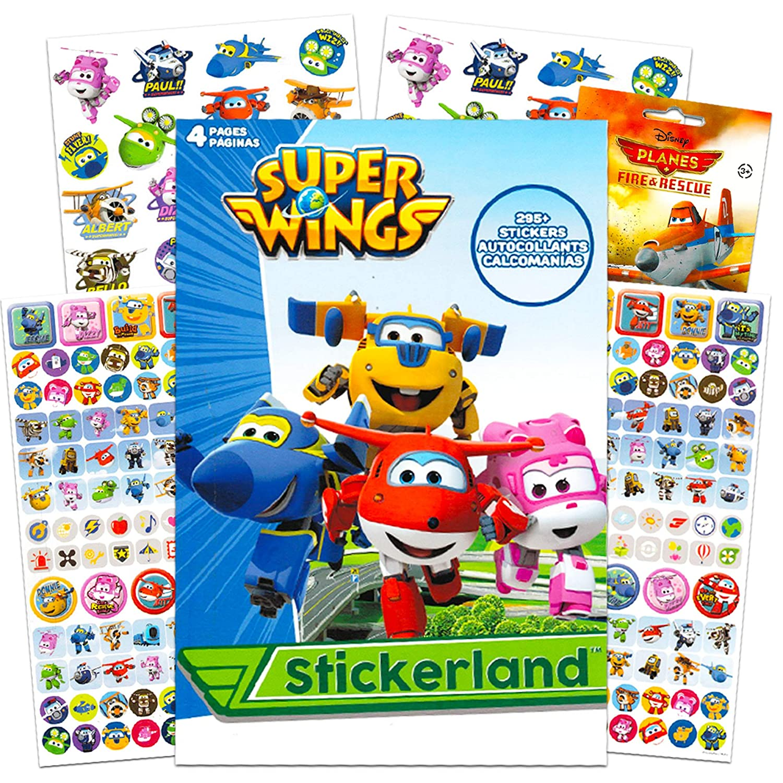 4 Sticker Sheets, Super Wings Party Supplies Bonus Disney Planes Stickers Bundle Includes Over 295 Super Wings Stickers With 100 Super Wings Stickers Party Pack