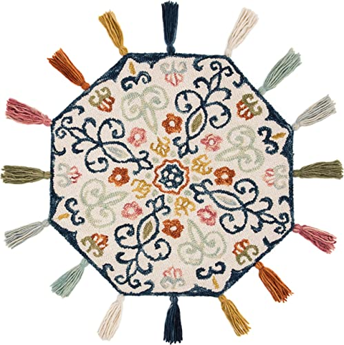 MISC Decorative Octagon Rug 3 x 3 , Multicolor Ivory Octagon Mat Floral Pattern Bohemian Look Tassel Accents, Farmhouse Indoor Carpet Dark Blue Orange Yellow Sage, Wool