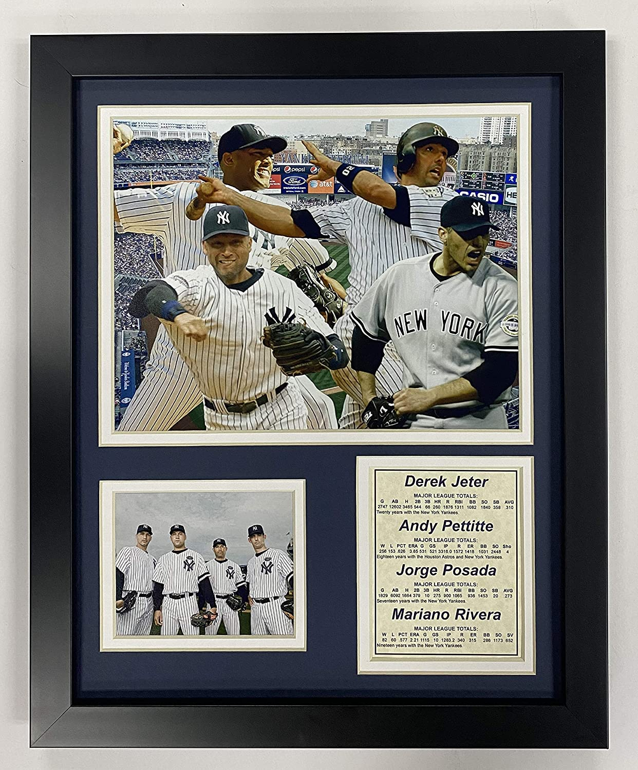 "Legends Never Die New York Yankees 2009 Baseball World Series Core 4 Collectible | Framed Photo Collage Wall Art Decor - 12""x15"""