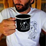 Journo Happy Camper Enamel Camping Mug - Black, 12