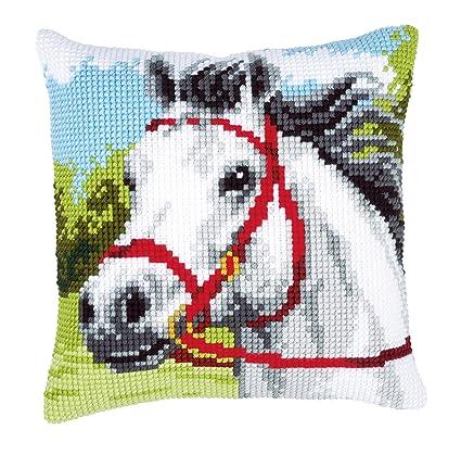 Amazon.com: Vervaco White Horse Cross Stitch Cushion, Multi ...