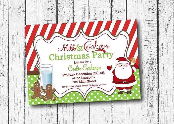 Christmas Cookie Party Invite.Amazon Com Milk And Cookies Christmas Party Invitation
