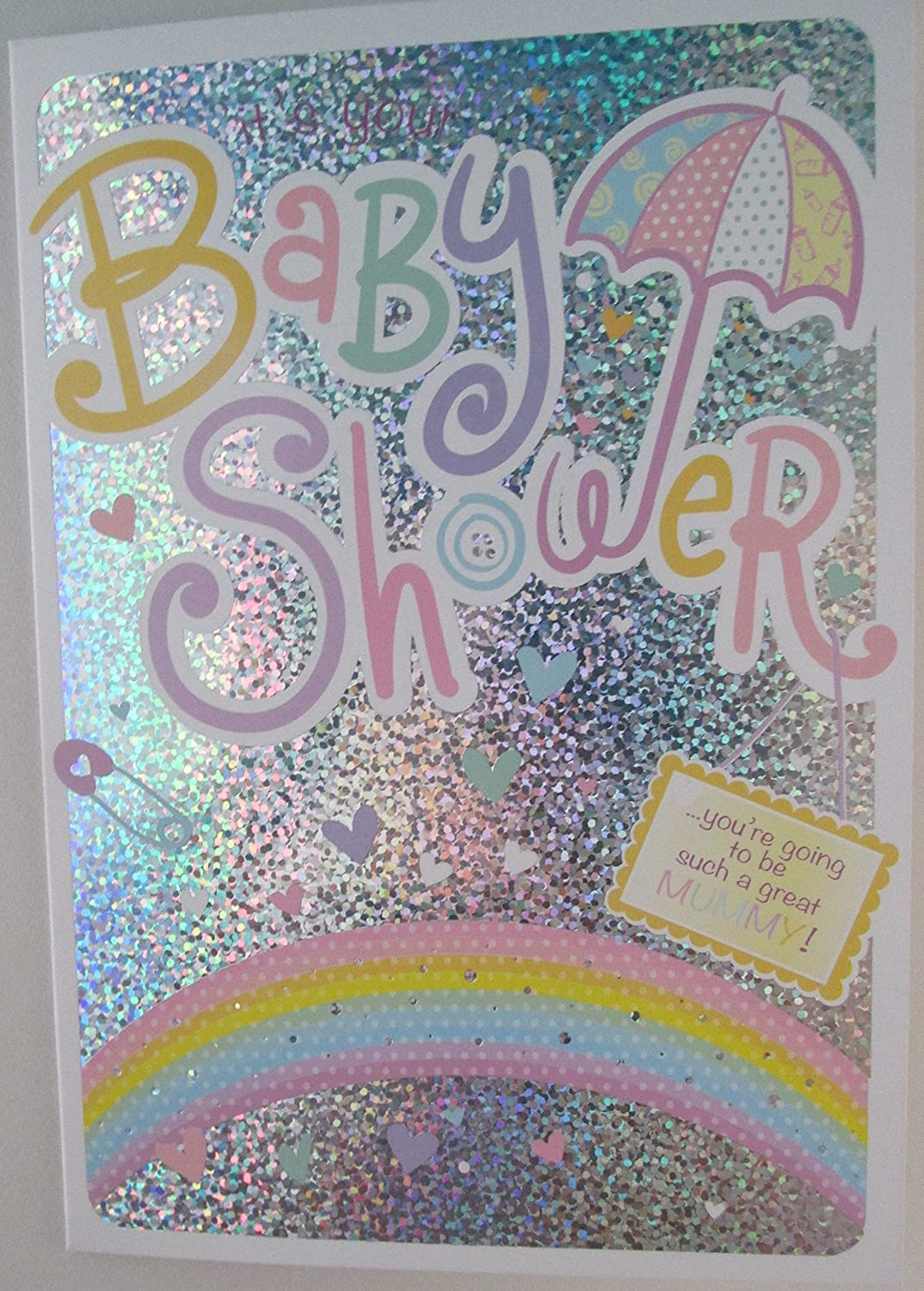 Baby Shower Card - For a Girl or Boy - Glittery effect front The Design Studio